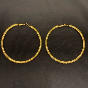 Gold hoop with cz diamonds ear rings